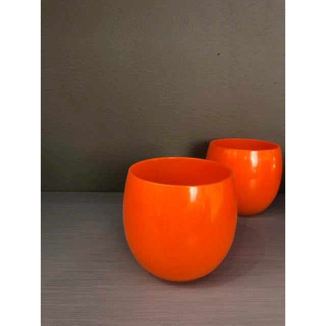 Mid-Century Hand Blown Orange Cocktail Glasses - Set of 4 For Sale In New York - Image 6 of 7