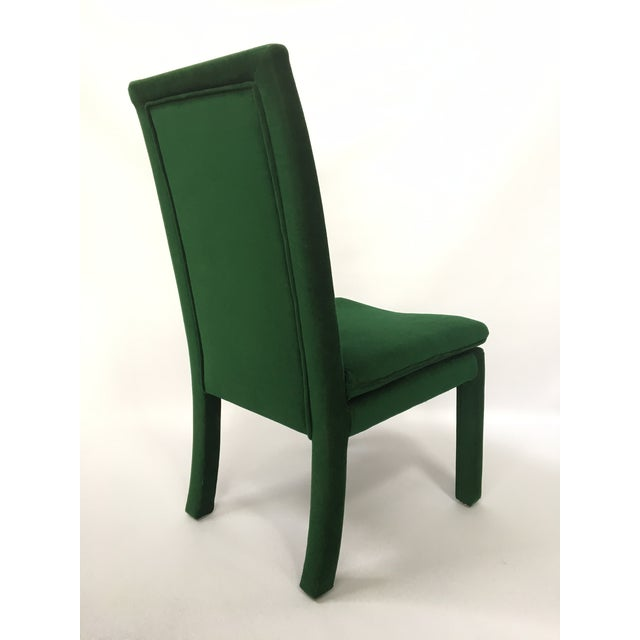 green velvet parsons dining chairs after milo baughman set of 4 chairish. Black Bedroom Furniture Sets. Home Design Ideas