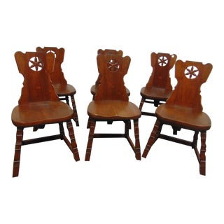 Amana Society Arts & Craft Walnut Dining Chairs - Set of 6 For Sale