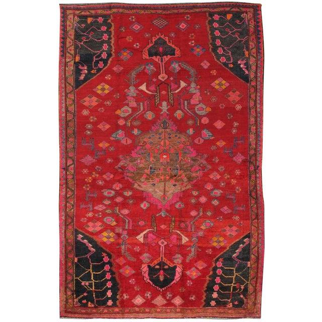 """Vintage Hamadan Wool Area Rug- 5' 5"""" x 8' 5"""" - Image 1 of 3"""