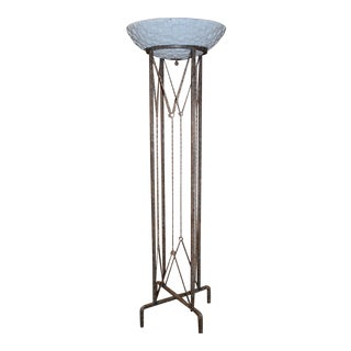 Neoclassic Style Oversized Wrought Iron Torchiere Floor Lamp For Sale