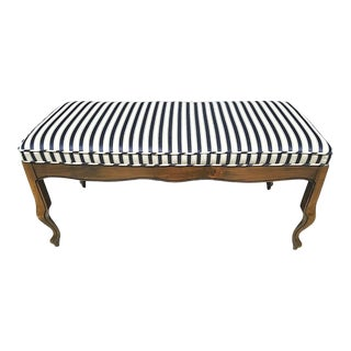 """Lovely Vintage French Provincial Louis XV Cabriolet Legs Blue Gold Striped Bench 41"""" For Sale"""