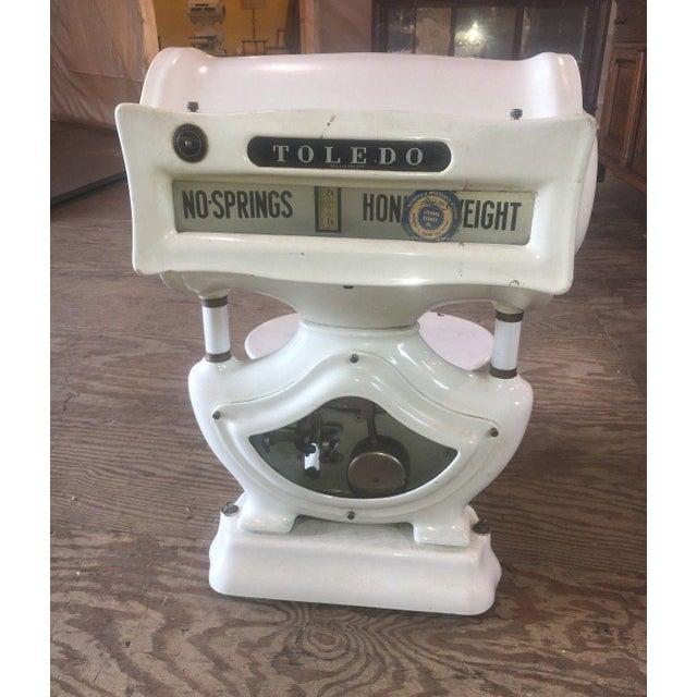 Industrial Antique Toledo White Porcelain Enamel Scale For Sale - Image 3 of 9