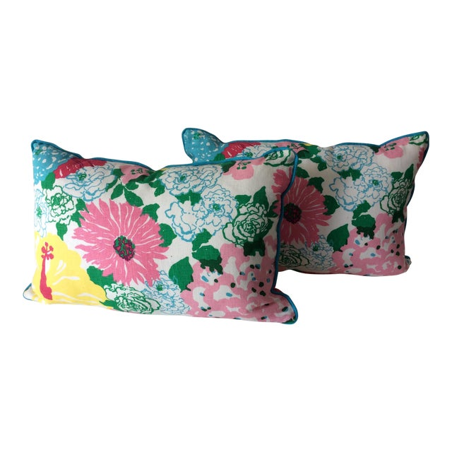 Cottage Style Handmade Floral Pillows - a Pair For Sale