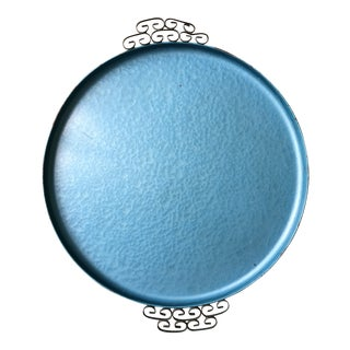 Vintage Kyes Round Blue Glaze Tray For Sale