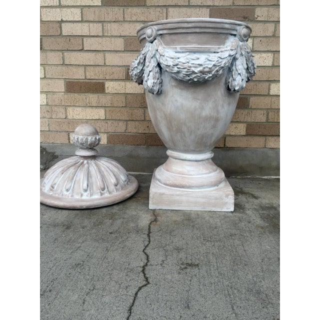 Large Italian Gray Fiberglass Storage Urn - Image 5 of 5