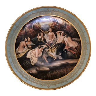 1990s Impressionist Round Decorative Hand Painted Porcelain Plate For Sale