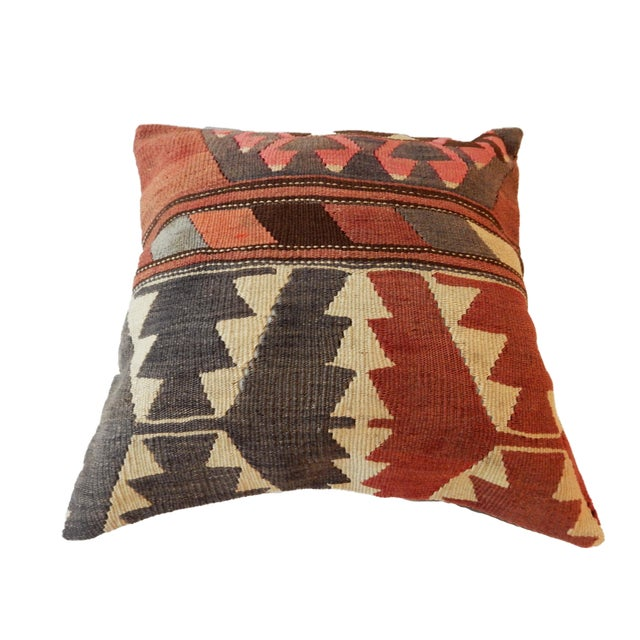 Old Caucasian Tribal Kilim Pillow - Image 3 of 9