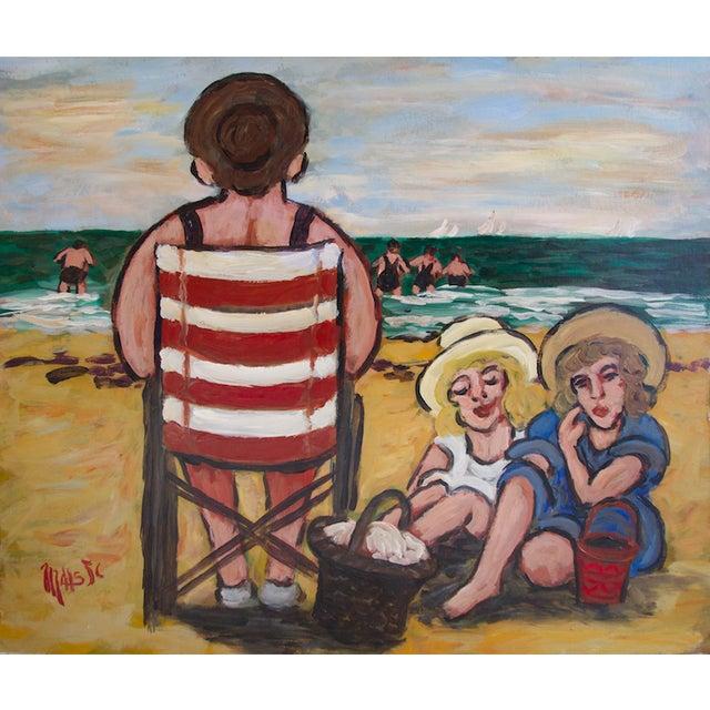 """Jean-Claude Maas """"Les Jumelles à La Plage"""" Painting - Image 5 of 5"""