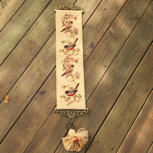 Vintage Embroidered Bird Wall Hanging - Image 2 of 10