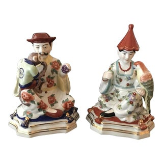 Chelsea House Chinoiserie Seated Asian Imari Porcelain Figures - a Pair For Sale