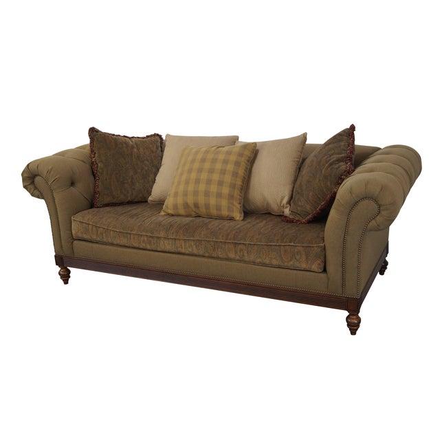 Ethan Allen British Classics Long Tufted Sofa For Sale