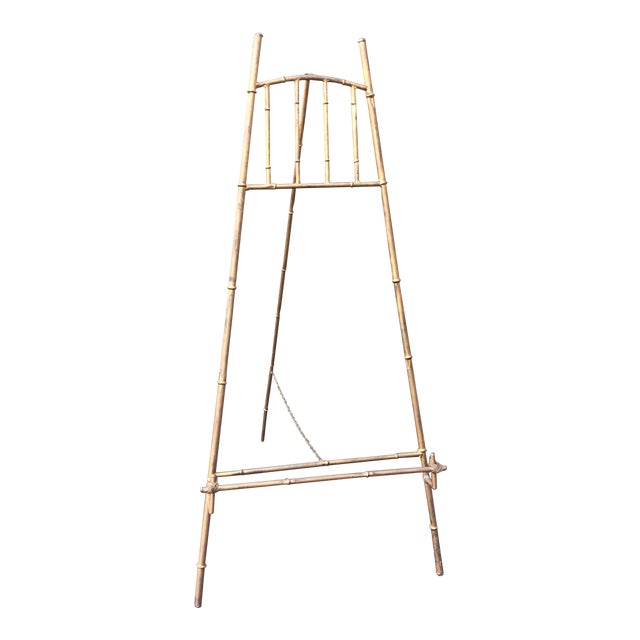 XL Faux Bamboo Gilt Easel For Sale