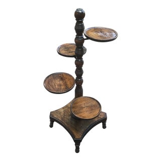 Antique Turned Wood Muffineer Plant Stand For Sale