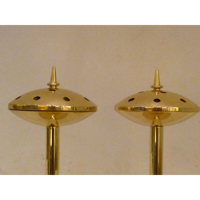 Pair of Modern Hans Agne Jakobsson Solid Brass Candleholders 1950s For Sale In Miami - Image 6 of 12