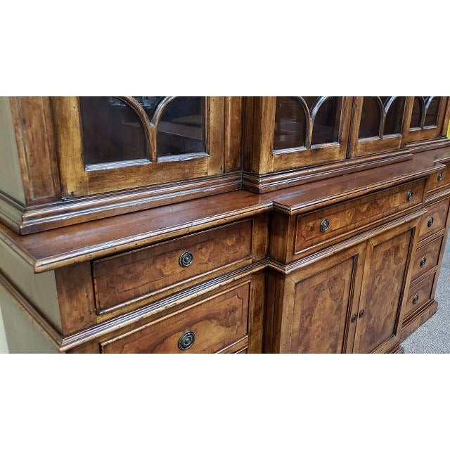 20th Century English Traditional Glazed Walnut Breakfront Cabinet For Sale - Image 9 of 13