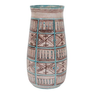 Signed Guido Gambone Mid-Century Modern Hand Painted Ceramic Vase For Sale