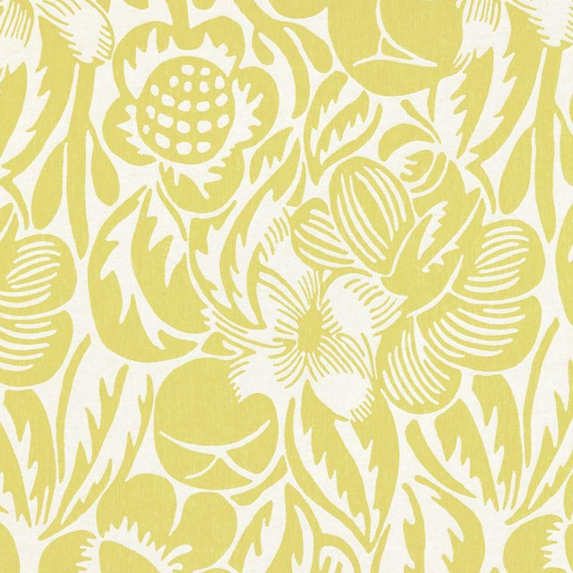 Scalamandre Deco Flower Fabric in Chartreuse For Sale