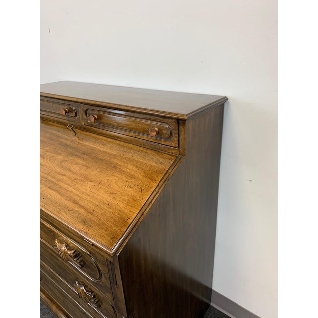 Davis Cabinet Lillian Russell Solid Walnut Victorian Slant Drop Front Desk 2 For Sale - Image 9 of 13