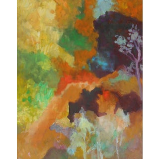 """""""Trees on a Walk"""" Contemporary Abstract Original Oil Painting by Ann Cameron McDonald For Sale"""