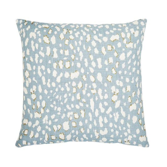 "Piper Collection Light Blue Linen ""Ollie"" Pillow For Sale"