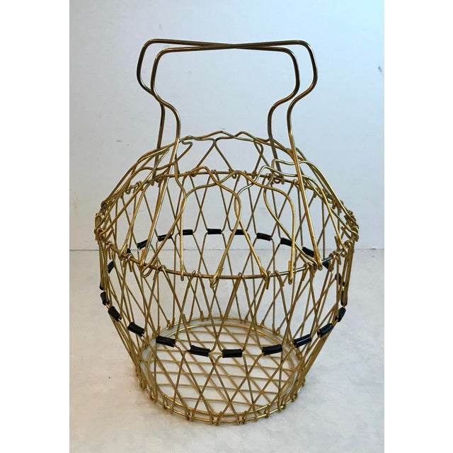Gold Mid Century Folding Wire Basket For Sale - Image 8 of 10