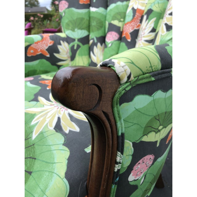 Early 20th Century Carved Wood Upholstered Koi Fabric Scallop Back Chairs - Set of 2 For Sale - Image 5 of 8