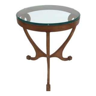 Wrought Iron Side Table With Glass Top For Sale