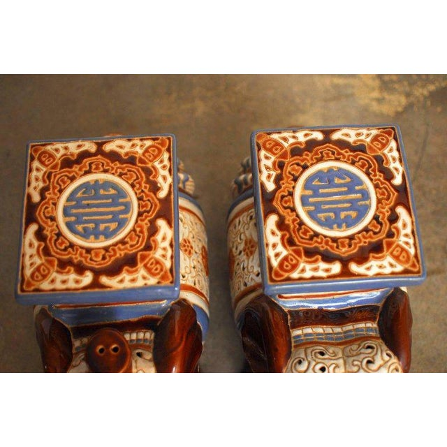 Ceramic Elephant Garden Stools or Drink Tables - A Pair - Image 4 of 11