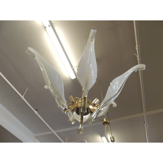 """Gorgeous vintage Murano glass chandelier Seguso style with delicately crafted """"feathers"""" sprouting from a brass frame. Six..."""