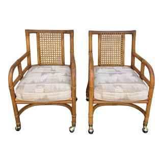 1960s Mid Century Modern Ficks Reed Rattan Chairs - a Pair
