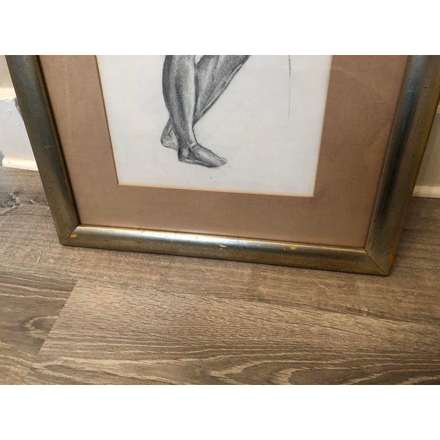 Gray 1980s Greek Goddess Nude Pencil Sketch, Framed For Sale - Image 8 of 10