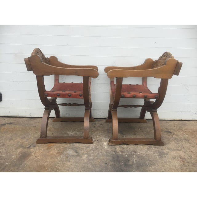 Vintage Spanish Leather & Wood Chairs - A Pair - Image 6 of 9