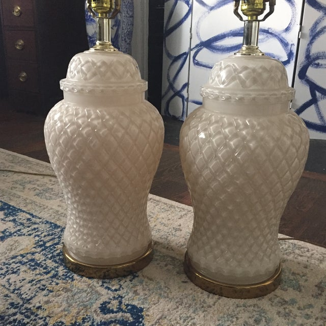 White Glass Quilted Ginger Jar Lamps - A Pair - Image 4 of 11