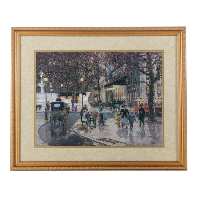 Early 1900s Street Scene Lithograph by Robert Lebron For Sale