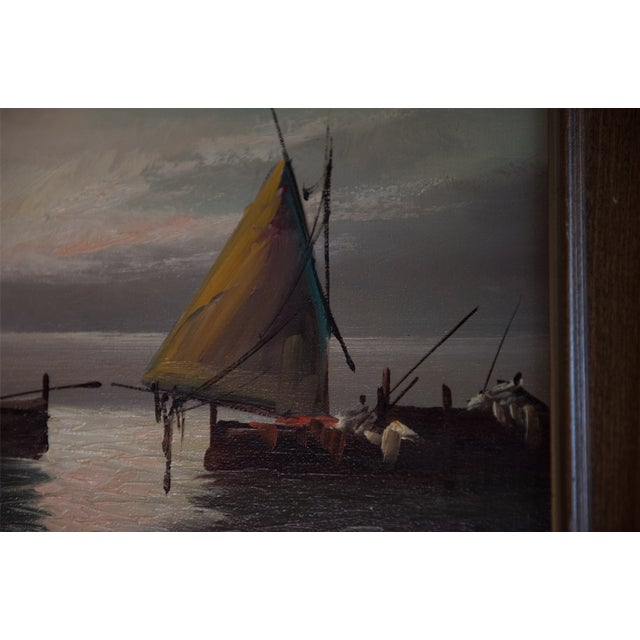 """Nautical Vintage """"Sailboats at Sunset"""" Oil Painting For Sale - Image 3 of 6"""