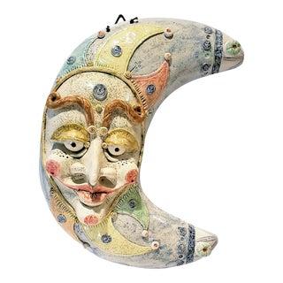 "Atelier Zago & Molin Handmade Ceramic ""La Luna"" Wall Hanging For Sale"