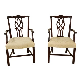 Pair Kindel Oxford Mahogany Chippendale Dining Armchairs For Sale