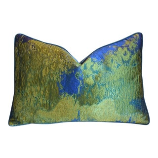 """Italian Woven Green & Blue Silk Feather/Down Pillow 26"""" X 18"""" For Sale"""