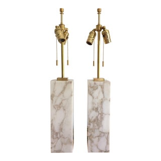 1950s T H Robsjohn Gibbings Hansen Lighting Marble and Brass Mid Century Table Lamps - a Pair For Sale