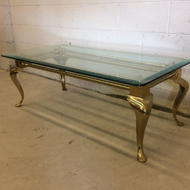 Brass & Glass Cabriolet Leg Coffee Table - Image 3 of 9