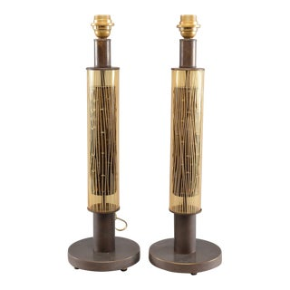 Pair Italian Art Glass and Metal Cylinder Shaped Lamps