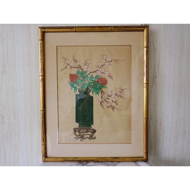 Chinese Hand Painted Asian Vase and Flowers Painting on Silk With Custom Frame For Sale - Image 11 of 11