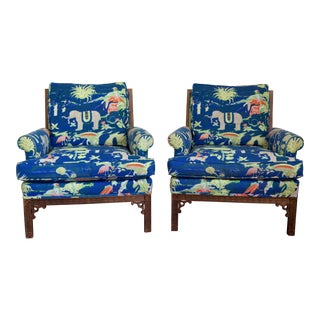 Vintage Fretwork Chairs in Bob Collins Fabric - A Pair