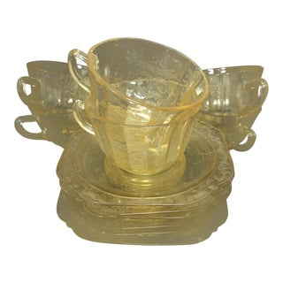 """Federal Glass Co, """"Madrid"""" Yellow Depression Glass, Cups and Saucers - 6 Sets of 2 For Sale"""