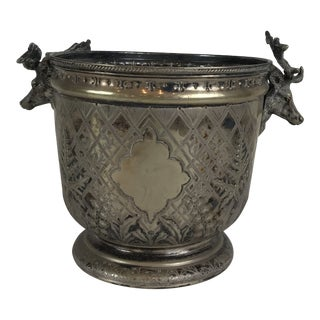 Antique Silver Plated Stage Horn Handles Deer Ice Bucket/Champagne Holder For Sale