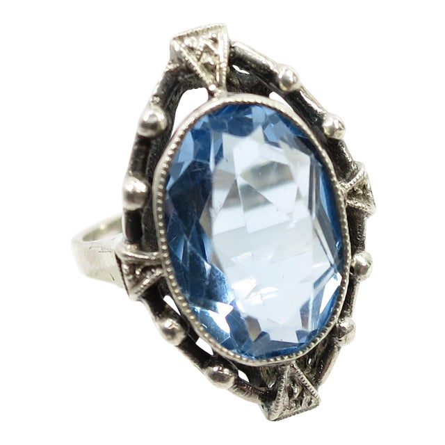 Edwardian 835 Silver & Blue Topaz Ring,1910 For Sale