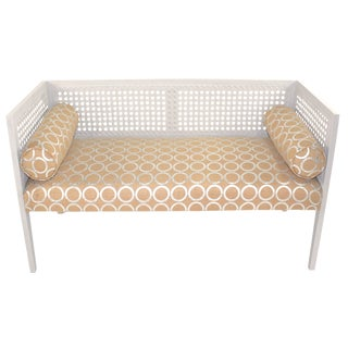 1960's Caned Back Burlap Bench