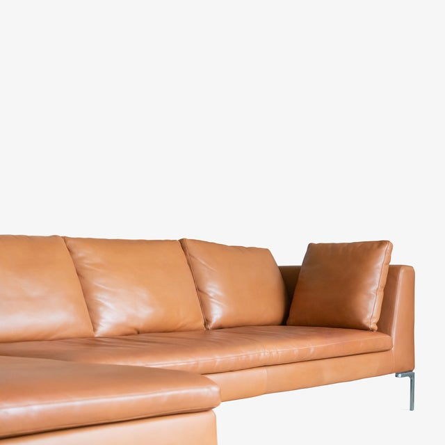 2000 - 2009 B&b Italia Charles Sectional in Cognac Leather by Antonio Citterio For Sale - Image 5 of 10