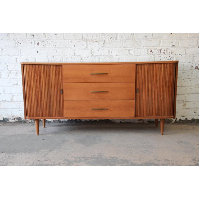 Mid-Century Modern Tambour Door Sideboard Credenza with Glass Front Hutch Top For Sale In South Bend - Image 6 of 11
